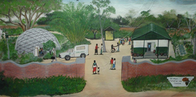 painting of Ndi Moyo Palliative Care Centre by Mark Kazembe